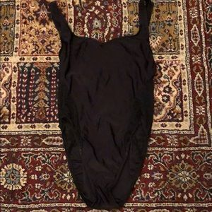 Other - Vintage Black High Cut Onepiece Sheer Lace Sides